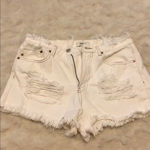 Forever 21 Distressed Denim White Cutoffs